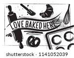 bakery poster on charcoal... | Shutterstock .eps vector #1141052039
