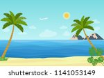 tropical landscape with palm... | Shutterstock .eps vector #1141053149
