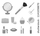makeup and cosmetics monochrome ... | Shutterstock .eps vector #1141058870