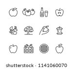 apples flat line icons. apple... | Shutterstock .eps vector #1141060070