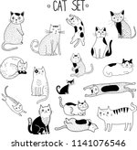 vector hand drawn cat's set.... | Shutterstock .eps vector #1141076546