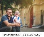 back to school. happy father... | Shutterstock . vector #1141077659