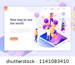 landing page template of... | Shutterstock .eps vector #1141083410