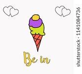 cartoon ice cream in waffle cone | Shutterstock .eps vector #1141084736