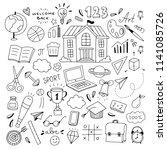 cute school doodle... | Shutterstock .eps vector #1141085726