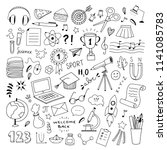 school hand drawn illustrations ... | Shutterstock .eps vector #1141085783