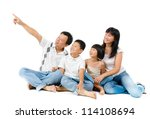 happy asian family sitting on... | Shutterstock . vector #114108694