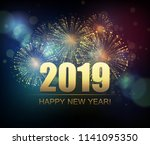 vector holiday fireworks... | Shutterstock .eps vector #1141095350