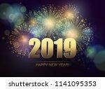 vector holiday fireworks... | Shutterstock .eps vector #1141095353