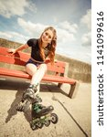 happy joyful young woman... | Shutterstock . vector #1141099616