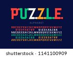 puzzle font  colorful jigsaw... | Shutterstock .eps vector #1141100909