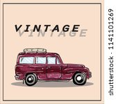 old car vector drawn... | Shutterstock .eps vector #1141101269