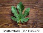 Fig Leaf On Wooden Background