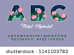 floral alphabet from capital... | Shutterstock .eps vector #1141103783