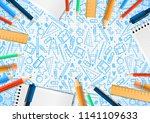 notebooks with deferent pencils ... | Shutterstock .eps vector #1141109633