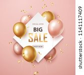 sale banner with pink and gold ... | Shutterstock .eps vector #1141117409