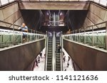 escalators at the metro station ... | Shutterstock . vector #1141121636