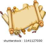 illustration of old scrolls... | Shutterstock .eps vector #1141127030