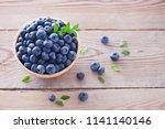 bowl full of blueberries  ... | Shutterstock . vector #1141140146
