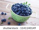bowl full of blueberries  ... | Shutterstock . vector #1141140149