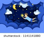 child touching the stars in the ... | Shutterstock .eps vector #1141141880