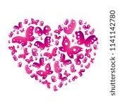 pink butterflies  heart on aw... | Shutterstock .eps vector #1141142780