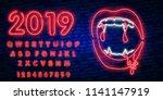 vampires neon sign. night paty... | Shutterstock .eps vector #1141147919