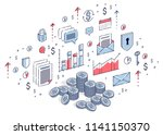 cash money coin cent stacks... | Shutterstock .eps vector #1141150370