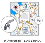 man signs financial document... | Shutterstock .eps vector #1141150400