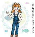 little redhead girl cute child...   Shutterstock .eps vector #1141151126