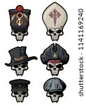 skulls in various hats. vector... | Shutterstock .eps vector #1141169240