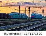 trains and wagons  railroad... | Shutterstock . vector #1141171520
