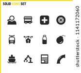 industry icons set with vector  ...