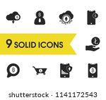 finance icons set with mobile...
