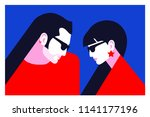couple in love. two lovers  man ... | Shutterstock .eps vector #1141177196