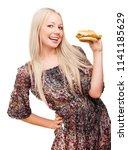 beautiful young blond woman... | Shutterstock . vector #1141185629