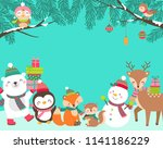 cute cartoon animals... | Shutterstock .eps vector #1141186229