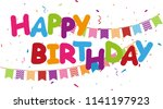 happy birthday with colorful... | Shutterstock .eps vector #1141197923