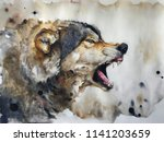 watercolour painting of wolf   Shutterstock . vector #1141203659