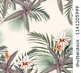 seamless pattern with exotic... | Shutterstock .eps vector #1141205999