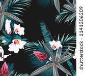 seamless pattern with exotic... | Shutterstock .eps vector #1141206209