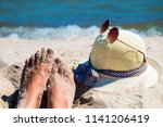 close up of woman's feet and... | Shutterstock . vector #1141206419
