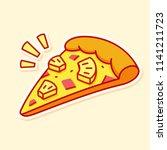 cartoon pizza slice with... | Shutterstock .eps vector #1141211723