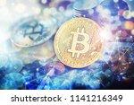 bitcoin cryptocurrency golden... | Shutterstock . vector #1141216349