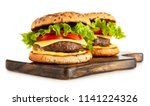 delicious grilled burgers | Shutterstock . vector #1141224326