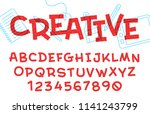 vector vintage handcrafted font.... | Shutterstock .eps vector #1141243799