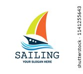 sailing logo with text space... | Shutterstock .eps vector #1141255643