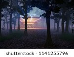 ufo landing in the forest at... | Shutterstock . vector #1141255796