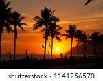 amazing sunset over ipanema... | Shutterstock . vector #1141256570