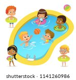 pool party characters.... | Shutterstock .eps vector #1141260986